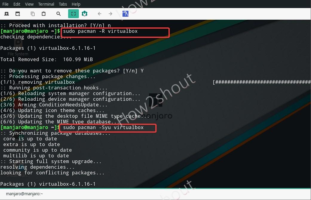 install Virtualbox on Manjaro using command line temrinal