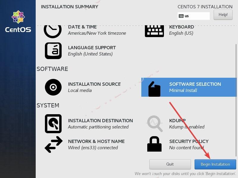 Begin installation process min