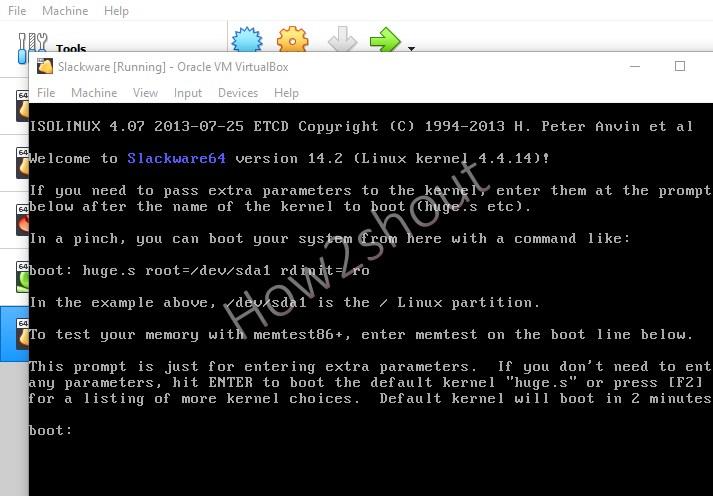 Boot Slackware VM