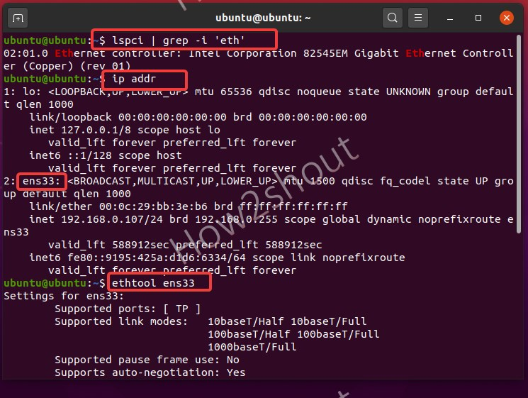Command to get all information about installed Network card on Linux system
