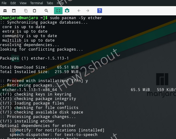 Command to install Ethcer on Manjaro