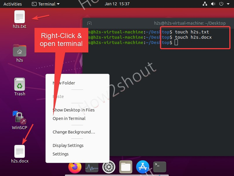 Create a new file using touch command on Linux Ubuntu