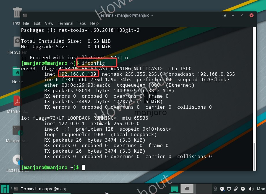 Ifconfig command for network Linux IP address