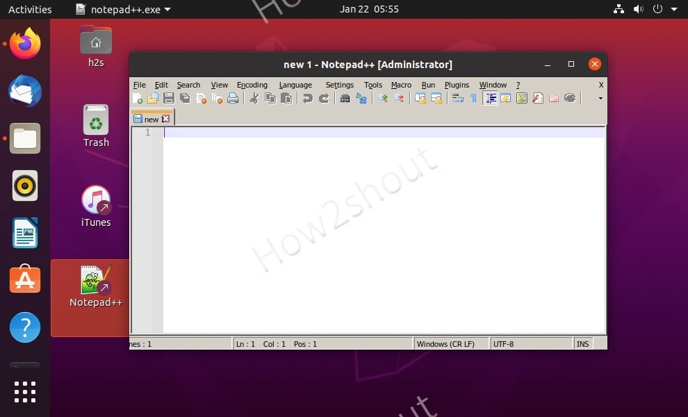 Notepad on Linux Ubuntu 20 min