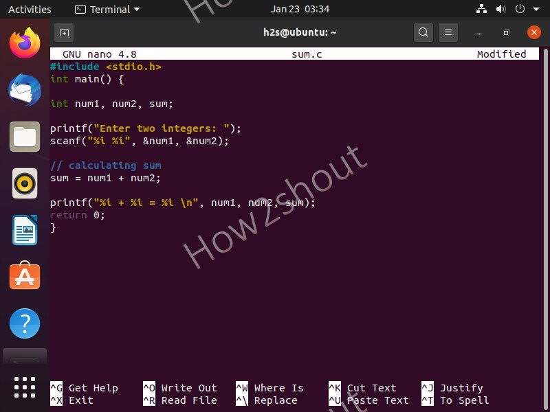 Program C two number add program on Ubuntu Linux