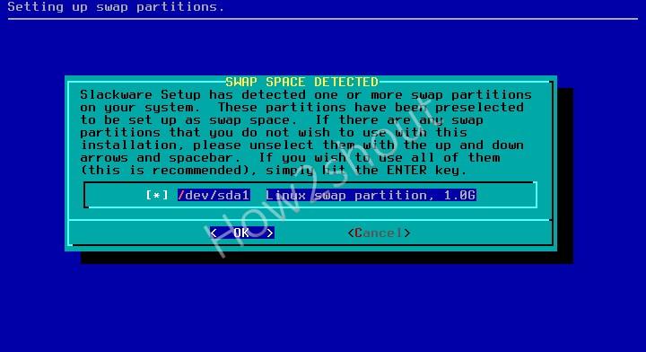 Select the Slackware swap