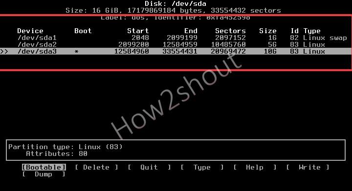 Set bootable partition
