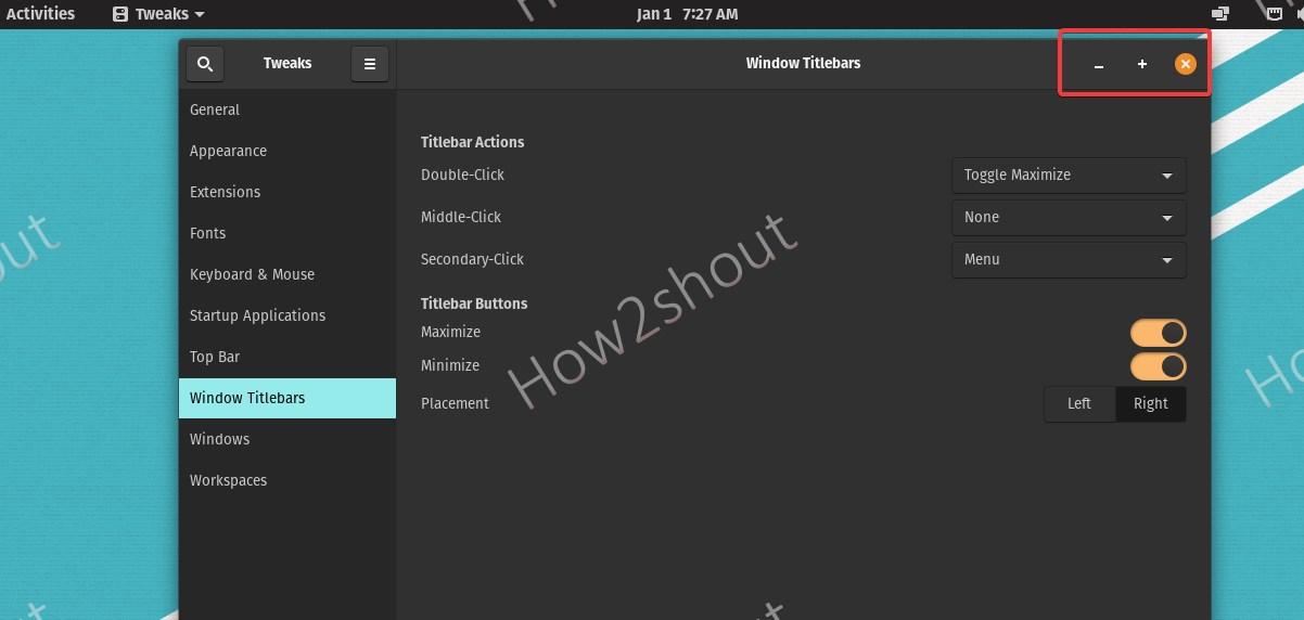 Windows Title Bar on Pop OS