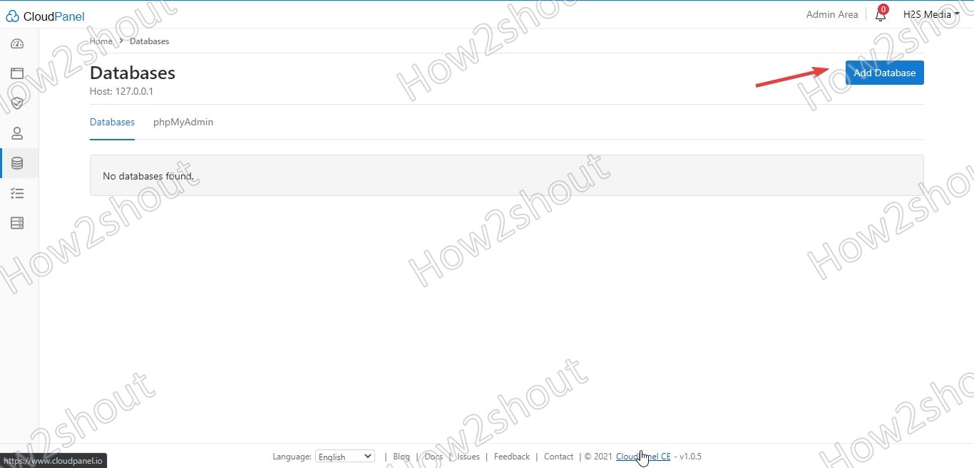 Add Database on cloudPanel