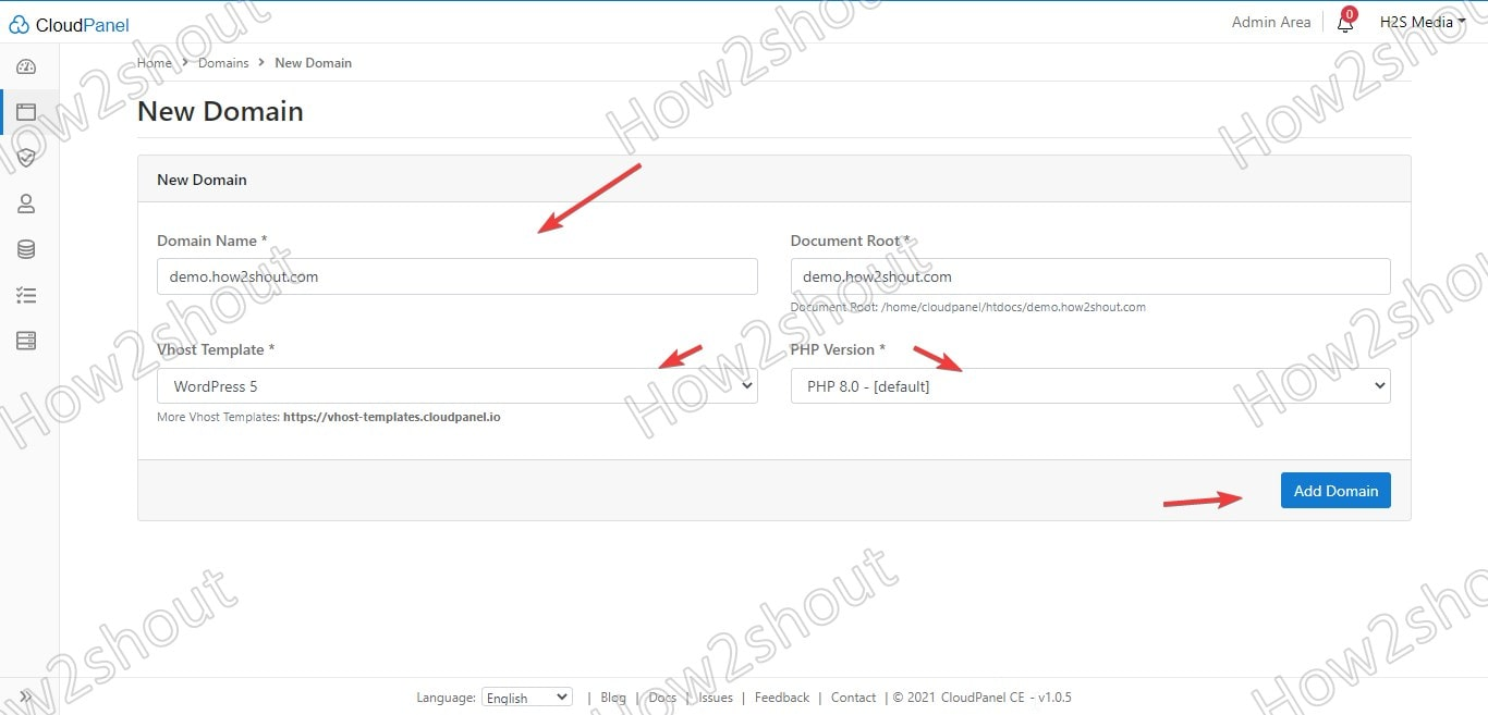 Add new Domain details control panel