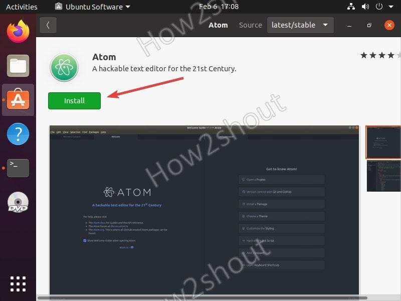 Click Install to download Atom editor on Ubuntu 20.04