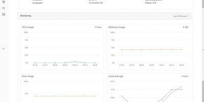 CloudPanel Dashboard and server monitor graph
