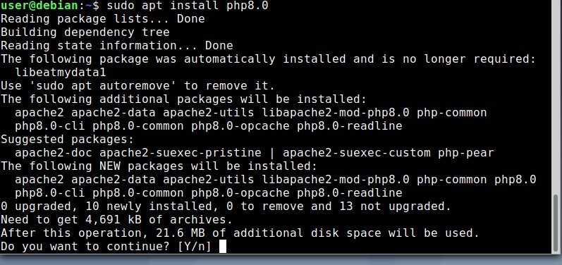 Command to install PHP 8 on Debian 10 or 11 Linux