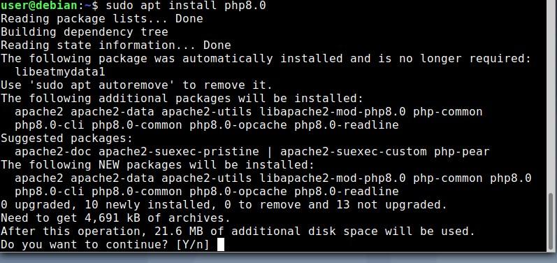 Commande pour installer PHP 8 sur Debian 10 ou 11 Linux