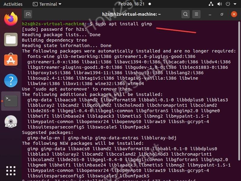 Install GIMP using COmmand line terminal on Ubuntu 20.04 lts