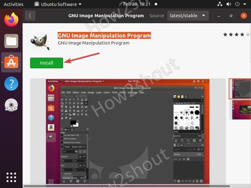 Install GIMP using graphical interface of Ubuntu software