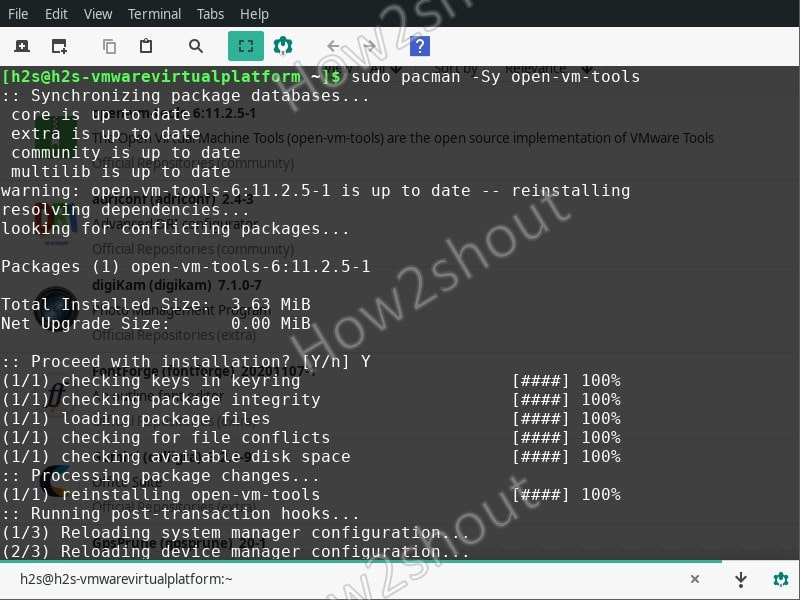 Install Open VM tools on Manjaro Linux