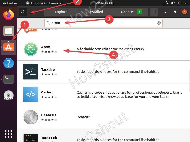 Search Atom on Ubuntu software GUI
