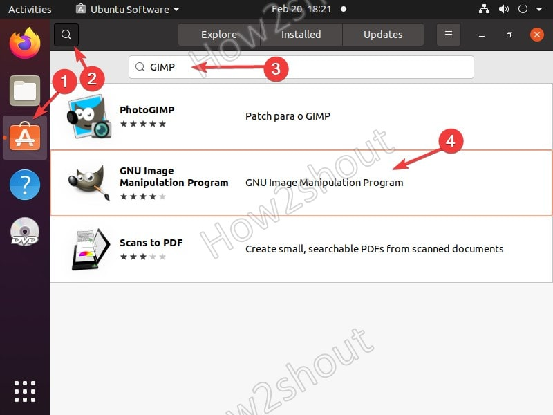 Search for GIMP packages on APP store