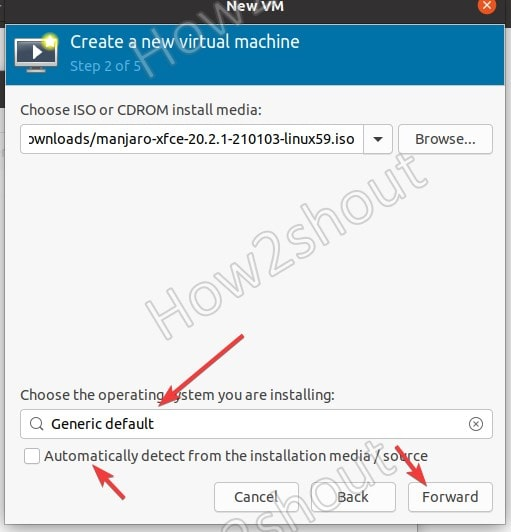 Select OS ISO file to install on KVM using Virt manager