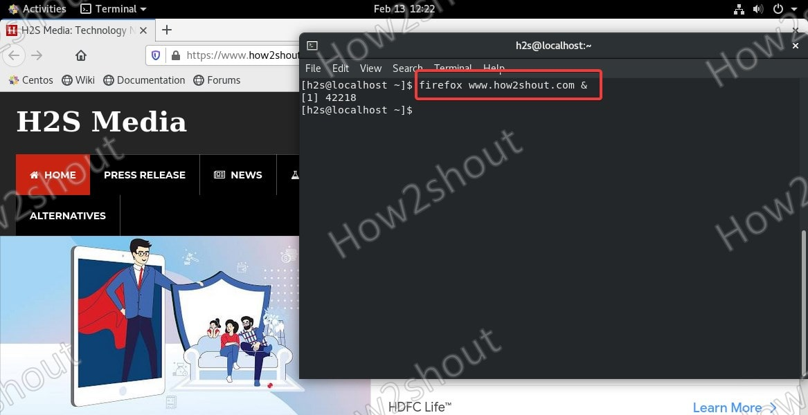 open firefox with some URL in command line linux