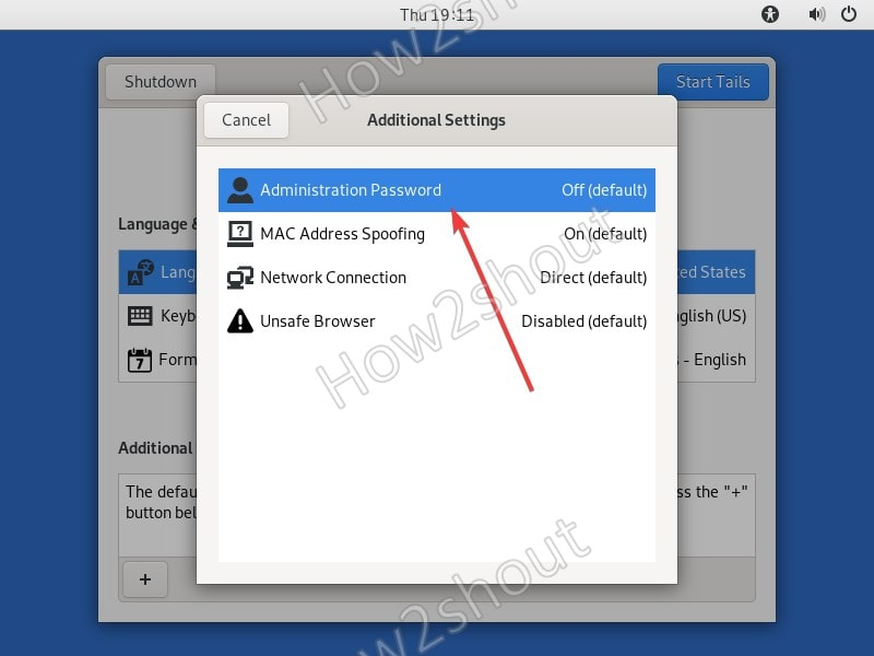 Administration root password in Tails Linux OS