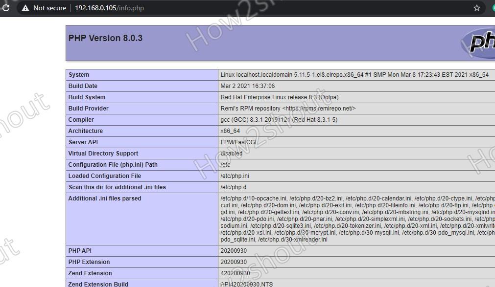 Check PHP configuration details