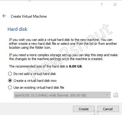 Create a Virtual Hard disk for Tails