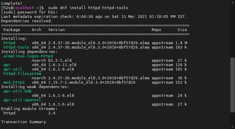 Install Apache web server on AlmaLinux 8