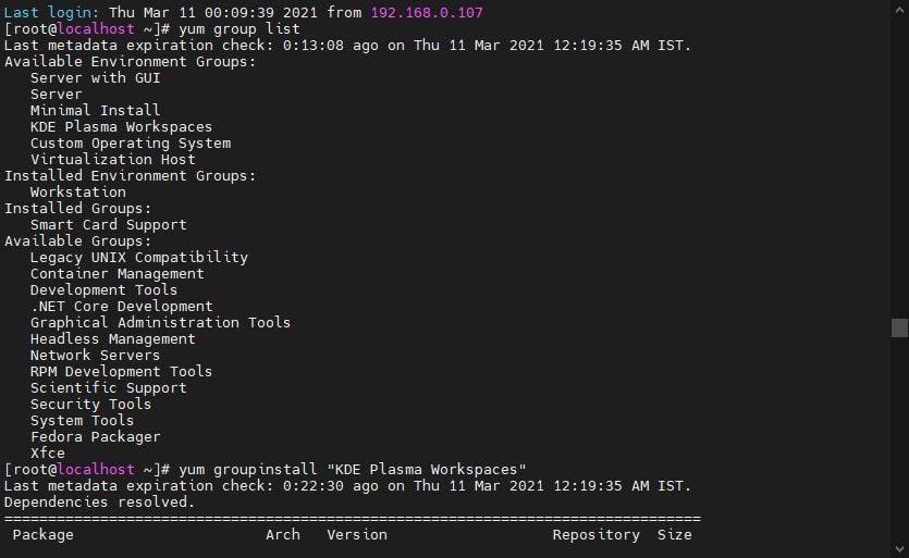 KDE Plasma in AlmaLinx Group list min