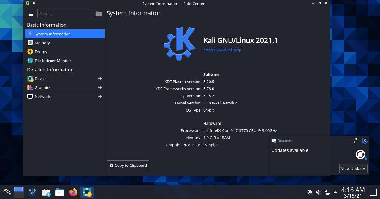 Kali Linux KDE Plasma GUI desktop screenshot