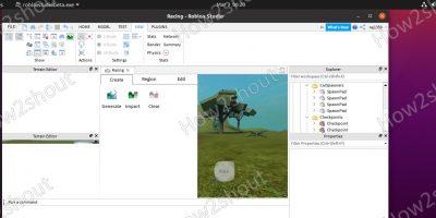 Roblox game Editor screen on Ubuntu 20.04 linux