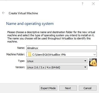 Select type of virtual OS