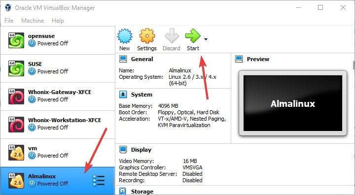 Start virtualmachine of AlmaLinux 8