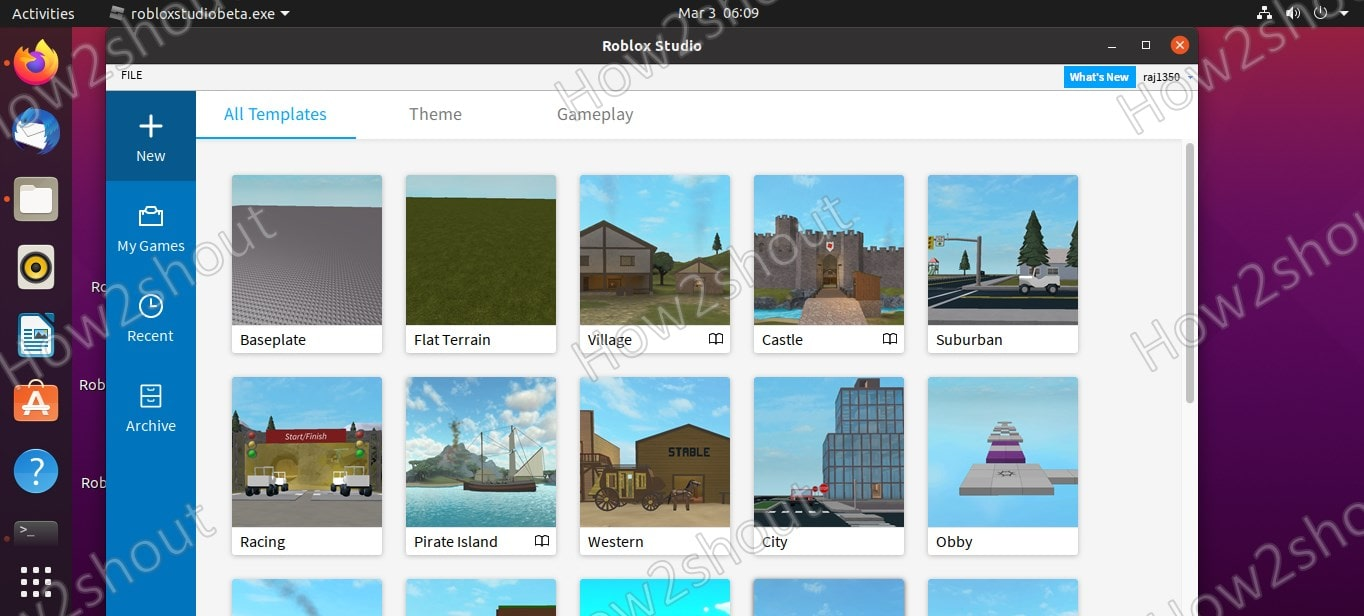 Theme and templates to start creating game in Roblox