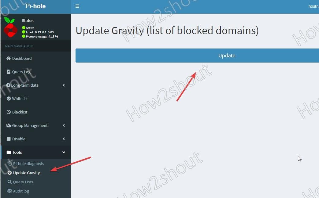 Update Pi hole domain blacklist data gravity