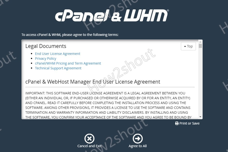 Agree Cpanbel WHM terms and conditions