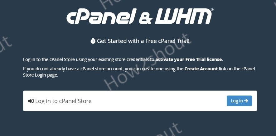 Apply for Cpanel try license