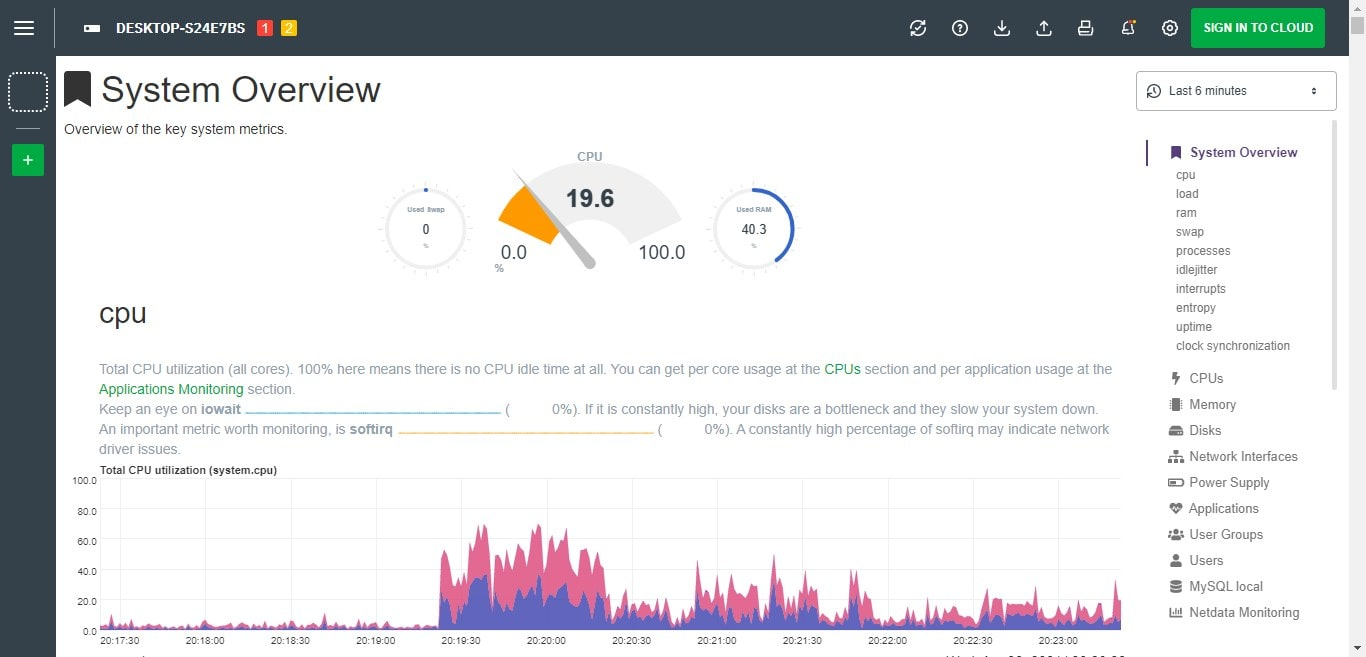 Light Theme Netdata overall monitoring overview