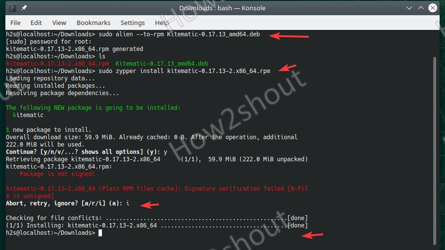 Command to install Debian packages on OpenSUSE Leap or Tumbleweed