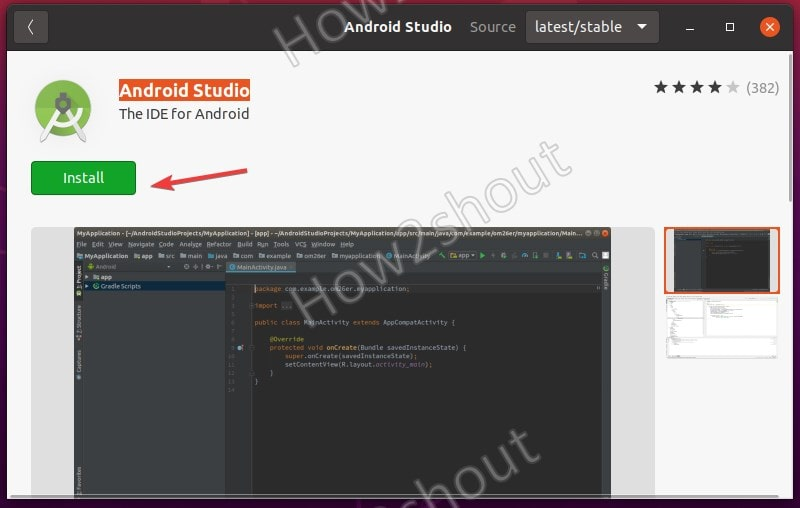 Install Android Studio on Ubuntu 20.04 using GUI software center