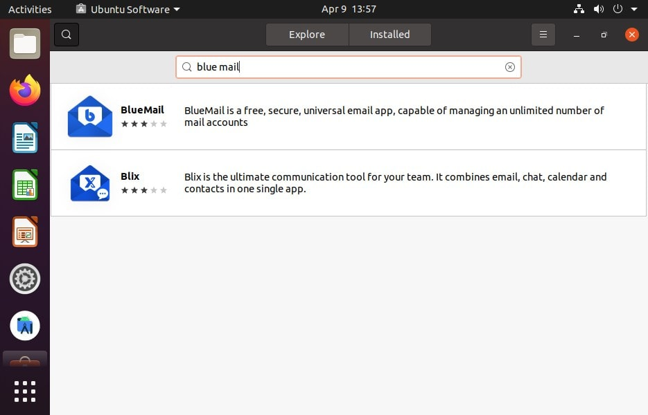 Install BLueMail from Ubuntu Software GUI using SNAP
