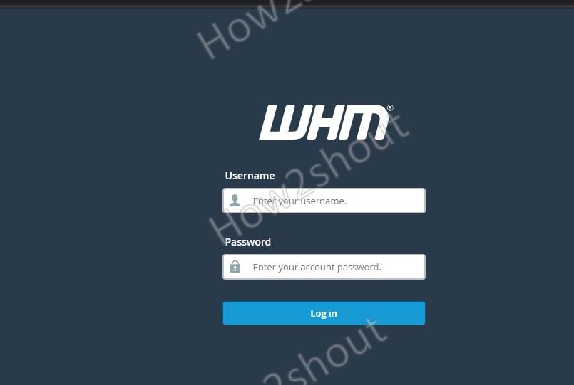 Login WHM on AlmaLinux 8