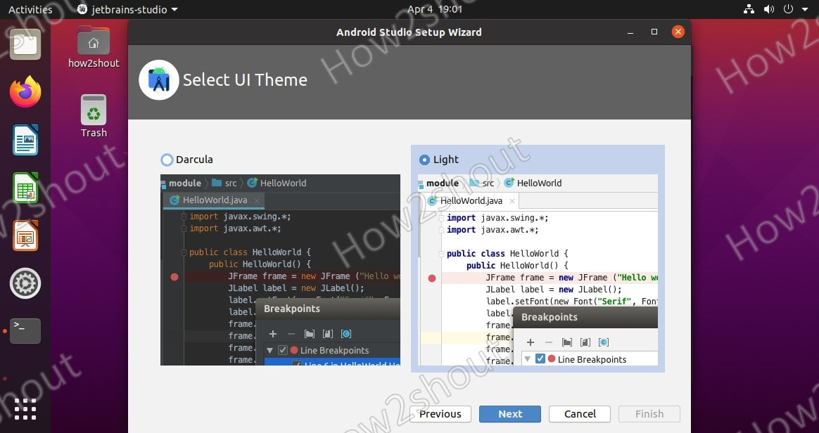 Select Dark or Light Theme of Android studio