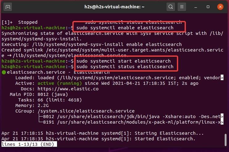 enable and start elasticsearch service on Ubuntu Linux