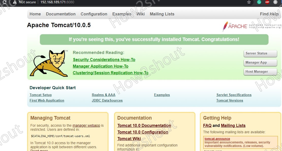 Apache Tomcat installed on Rocky Linux