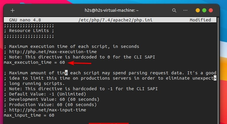 Change PHP maximum Executaion Time