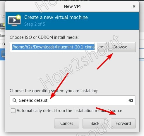 Choose ISO file in Virt manager Rocky Linux