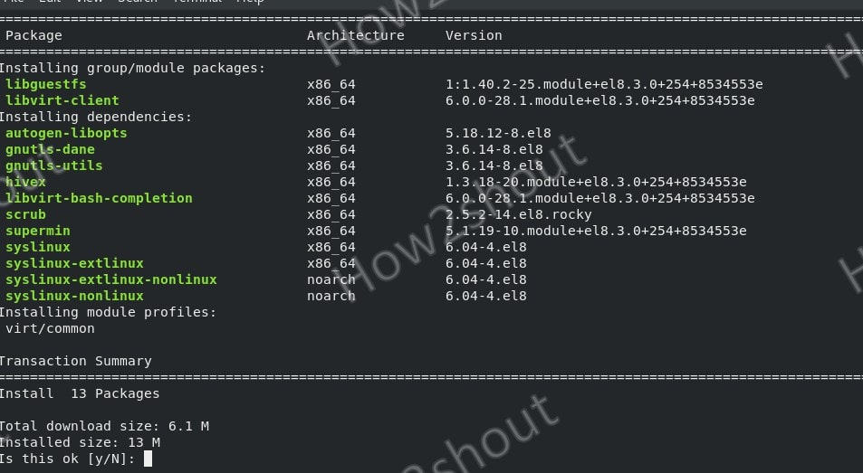 Command to install KVM on rocky Linux 8