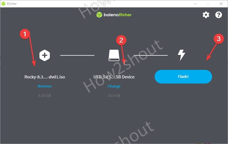 Create Rocky Linux 8 bootable USB drive using BalenaEtcher